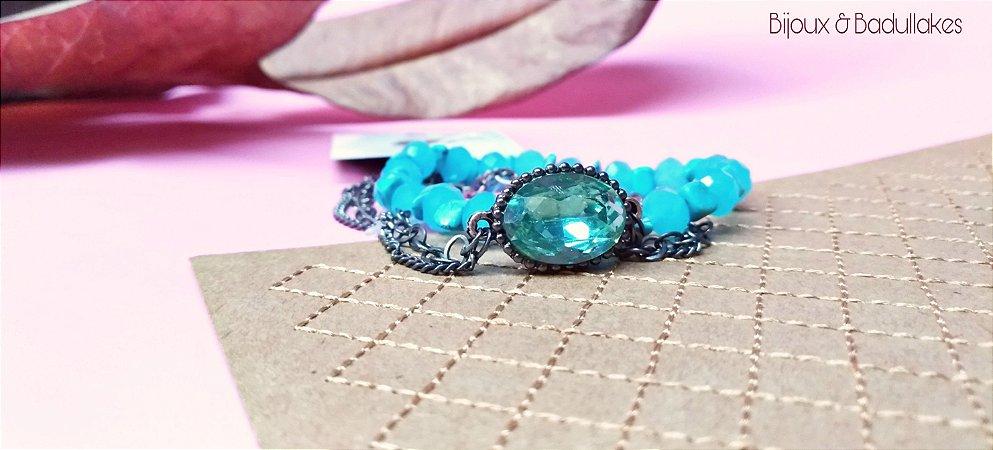 Mix de Pulseiras ônix e cristal azul, cascalhos e cristais turquesa
