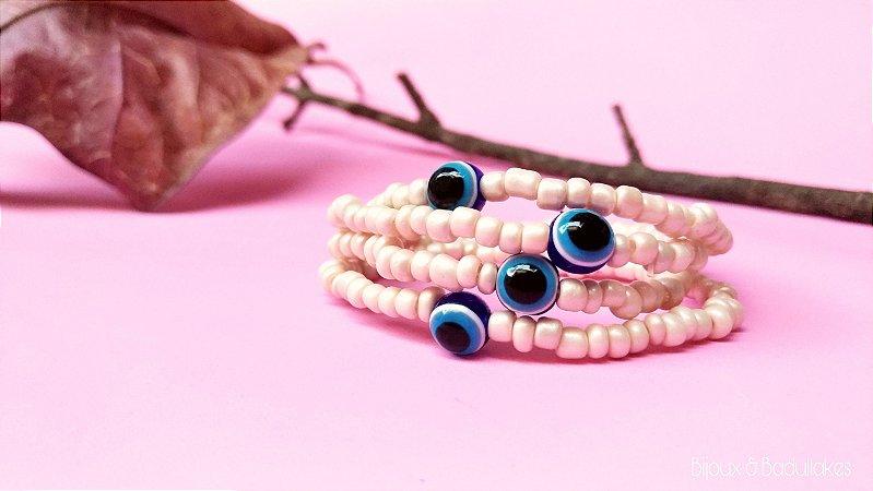 Mix de pulseiras de missangas com olho grego