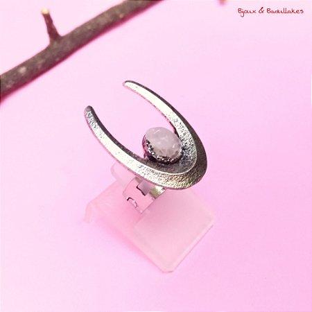 Anel Boho com pedra quartzo rosa prata velho
