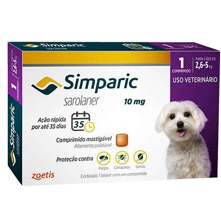 Antipulgas Simparic 10 mg - Cães de 2,6 a 5 kg