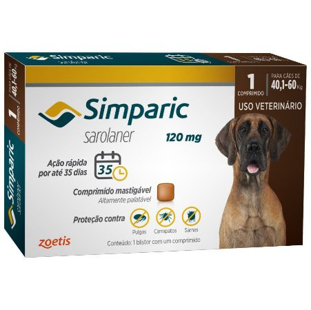 Antipulgas Simparic 120 mg - Cães de 40,1 a 60 kg
