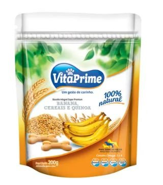 Cookie Natural para Cães Vitaprime Banana, Cereais e Quinoa
