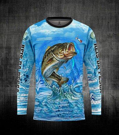 Camiseta manga longa com estampa de pesca