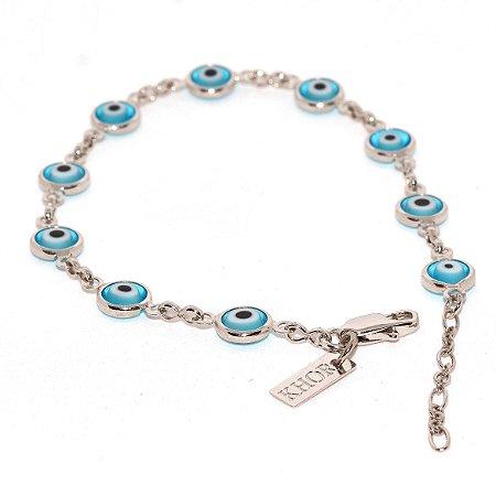 Pulseira Olho Grego - Azul Claro - Ródio Branco