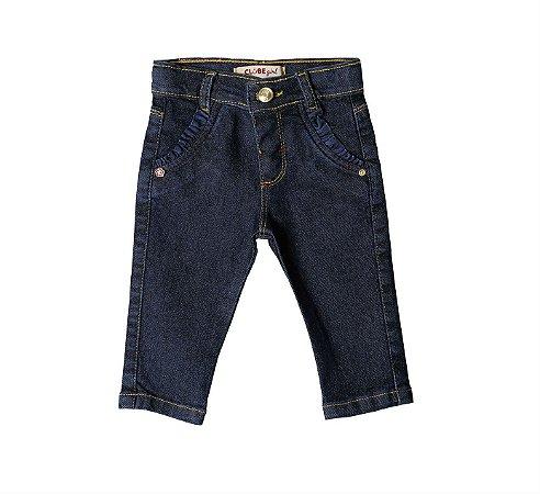 Calça Slim Jeans Franzido