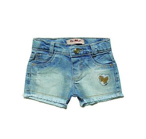 Short bebê slim jeans coração azul p ao g clube do doce
