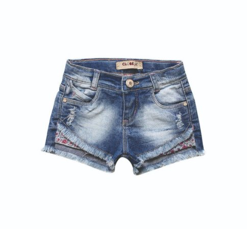 SHORT FEMININO JEANS REGULAR FORRO INFANTIL 1 AO 3 CLUBE DO DOCE
