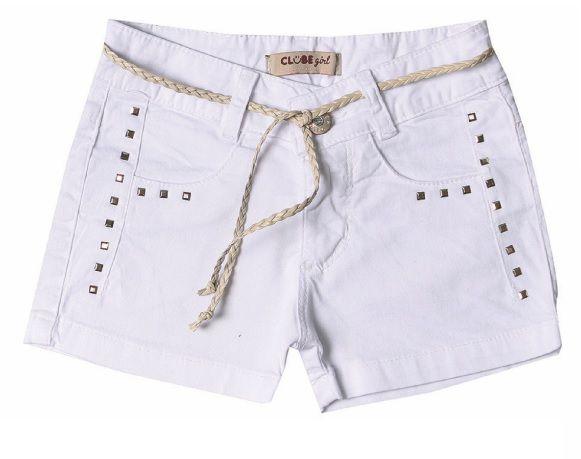 Shorts Slim Sarja Branco Square