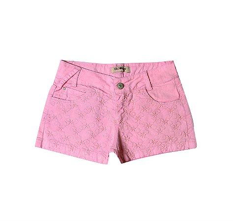 Shorts Slim Sarja Color Flores Rosa