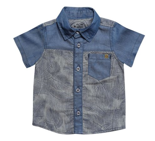CAMISA MASCULINA JEANS BABY STAMP P AO G CLUBE DO DOCE