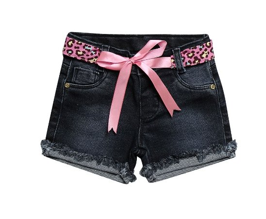 Shorts bebê feminino regular jeans laço p ao g clube do doce