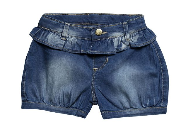 Shorts bebê balone jeans babado p ao g clube do doce