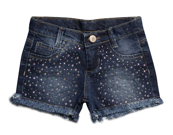 Shorts feminino jeans strass infantil 1 ao 3 clube do doce