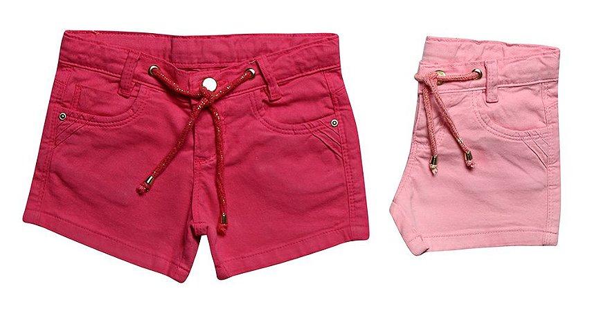 Shorts feminino sarja lurex colors infantil 1 ao 3 clube do doce