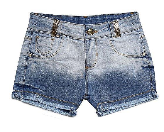Shorts jeans feminino pérolas 4 ao 8 clube do doce