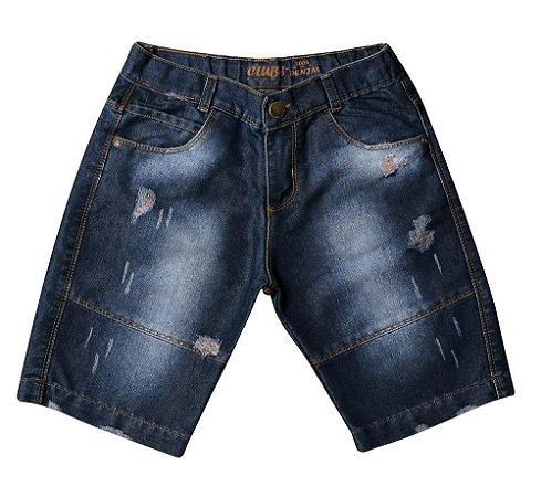 Bermuda masculina jeans juvenil viés 10 ao 16 clube do doce