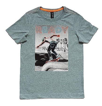 Camiseta Estampada Cinza Colisão Tam 12