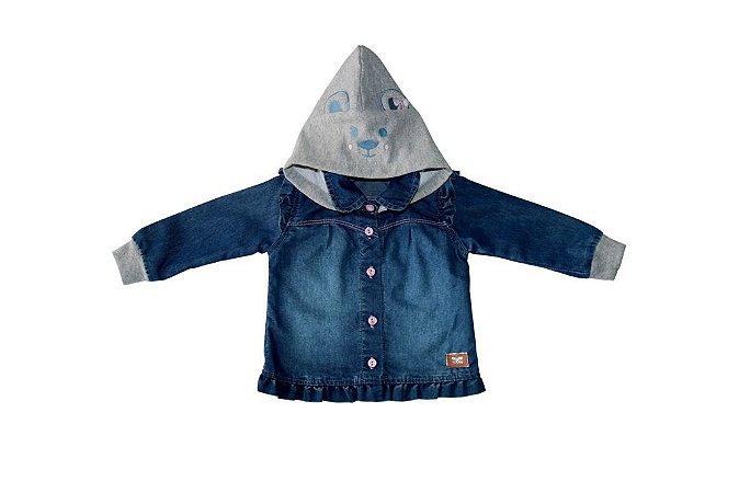 Camisa jeans m/l bebê com capuz ursinho p ao g clube do doce