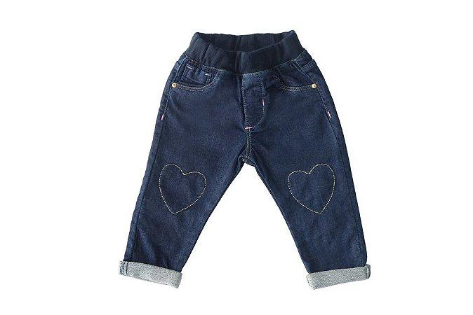 Calça feminina bebê jeans skinny coração p ao g clube do doce