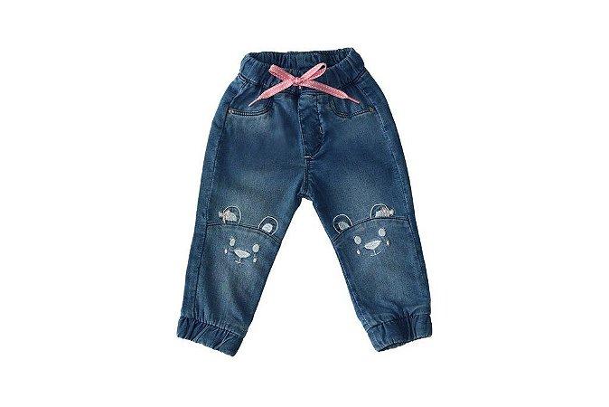 Calça feminina jeans bebê jogger urso p ao g clube do doce
