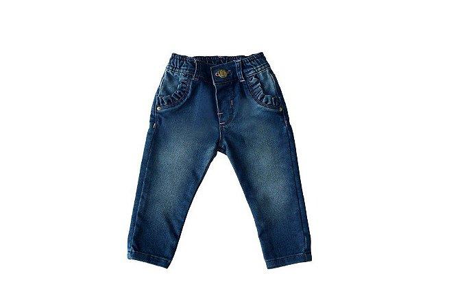 Calça feminina jeans bebê babadinhos p ao g clube do doce