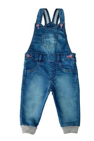 Jardineira feminina jeans bebê glitter p ao g clube do doce