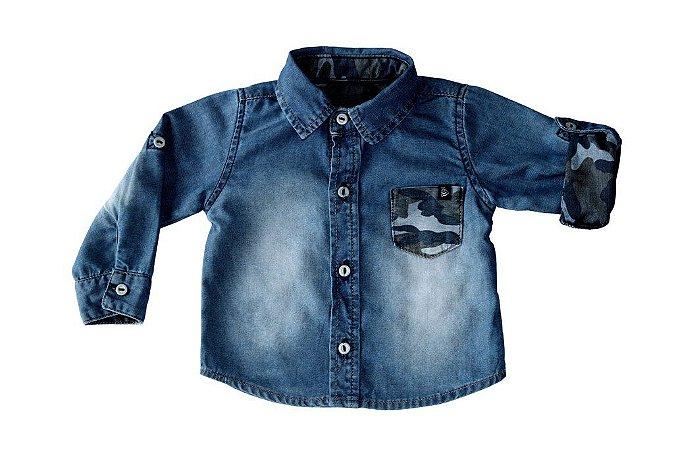Camisa masculina jeans bebê m/l camuflado p ao g clube do doce