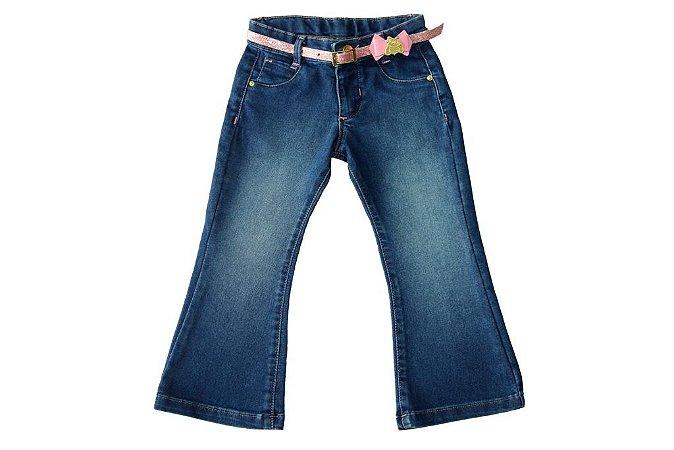 Calça feminina jeans infantil flare 1 ao 3 clube do doce