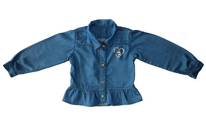 Camisa feminina jeans infantil max skin 1 ao 3 clube do doce