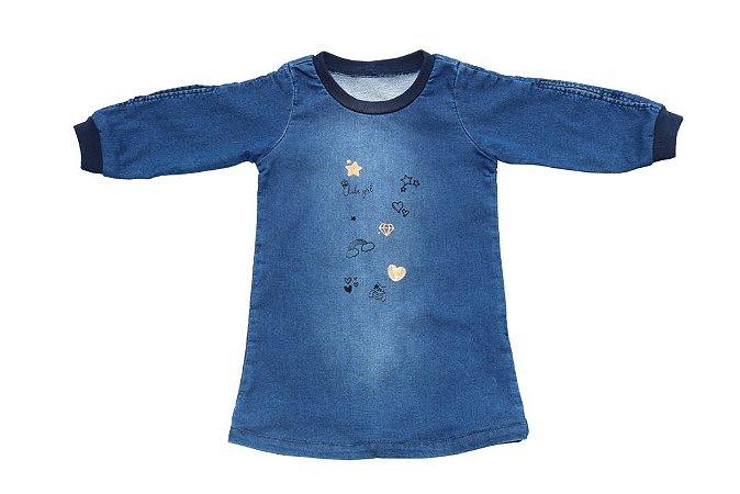 Vestido feminino jeans infantil lakers 1 ao 3 clube do doce