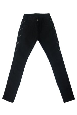 Calça feminina jeans teen black pedraria 10 ao 16 clube do doce