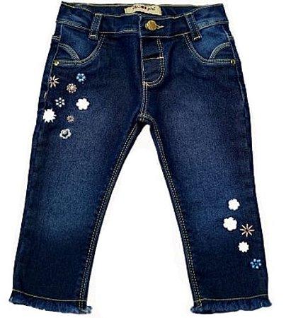 Calça feminina slim jeans bebê p ao g flower clube do doce
