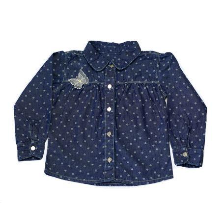 Camisa feminina infantil jeans borboletas 1 ao 3 clube do doce