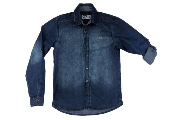 Camisa masculina infantil jeans denin 10 ao 14 clube do doce