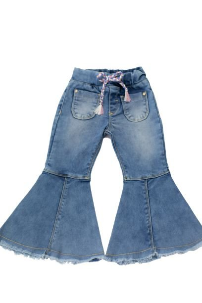Calça feminina jeans flare 1 ao 3 clube do doce