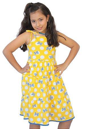 Vestido Amarelo com Alça de Amarrar