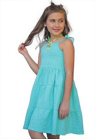 Vestido Azul Turquesa com Alça de Amarrar