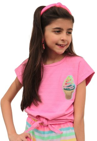 Camiseta de amarrar Sorvete Lantejoulas