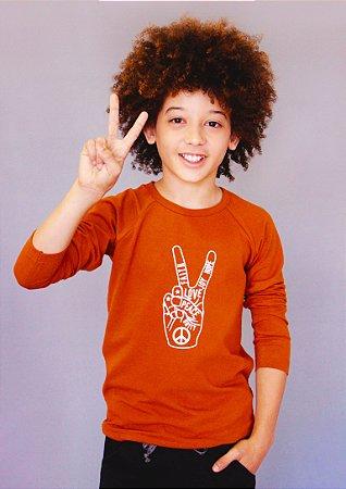 Camiseta Manga Longa Love Peace Unissex