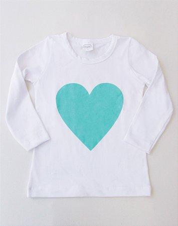 Camiseta Manga Longa Coração com Glitter