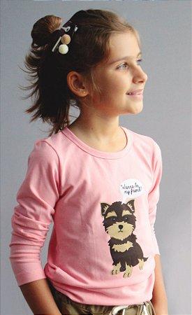 Camiseta Manga Longa Dog Rosa