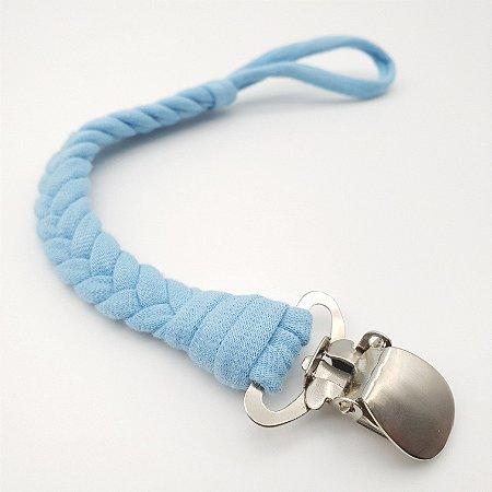 Prendedor de chupeta Trançado de Algodão Azul Claro