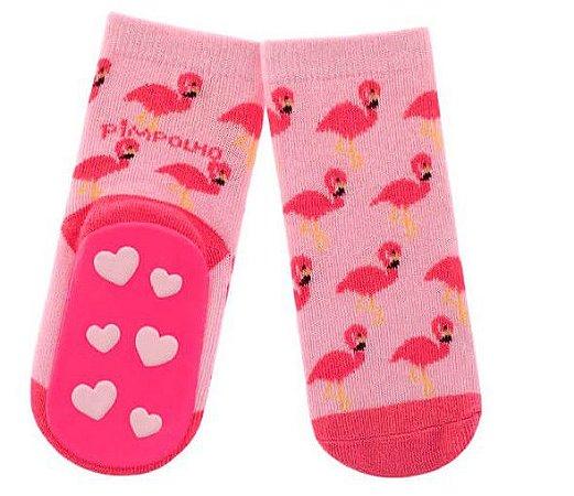 Meia com solado antiderrapante Flamingo 16 ao 20