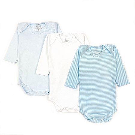 Kit Básico Manga Longa Branco, Azul Bebê e Listrado fino Azul Bebê