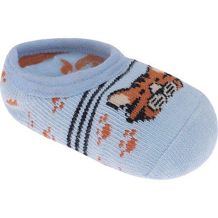 Meia Sapatilha Azul Bebê Tigre