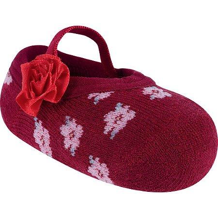 Meia Sapatilha Festa Vermelho Flores