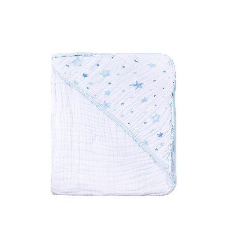 Toalha de Banho Soft Estrela Azul Bebê Estampada com capuz 80cmX80cm