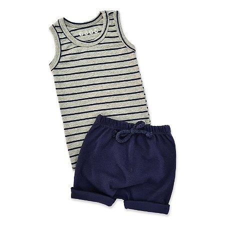Conjunto Regata e Shorts Listrado Azul Marinho