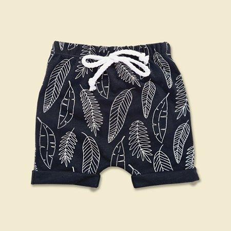 Shorts Folhas Preto