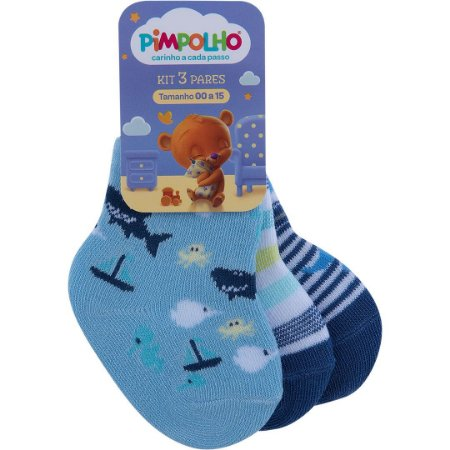 Kit Meia Tubarão Azul Bebê